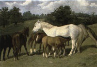 mares and foals in a landscape by richard quick