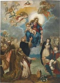 madonna mit kind, der heiligen katharina einen rosenkranz überreichend, darunter ein knieender bischof und sein wappen by giulio cesare angeli