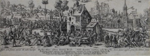 die dorfkirchweih after hans sebald beham by johann theodor de bry