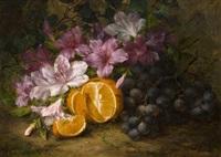 stillleben mit azaleen, einer orange, weintrauben und efeu by margaretha roosenboom