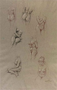 female nudes (study)(+ 3 others; 4 works) by anton pieck