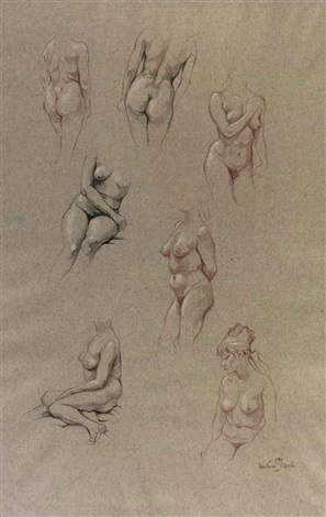 female nudes study 3 others 4 works by anton pieck