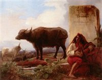 landscape with a piper attending his cattle and buffalo by adolphe roger