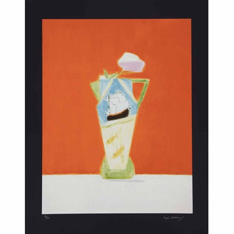 daffodils and candlestick still life on vermillion 2 works by craigie aitchison