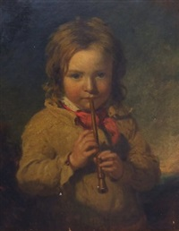 portrait of a boy playing a recorder by james john hill