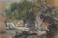 a river scene study by charles branwhite