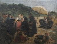 fischergruppe mit mädchen / am strande von blankenese by camilla zach-dorn