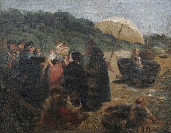 fischergruppe mit mädchen am strande von blankenese by camilla zach dorn