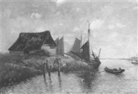 estuary scene with fishing boat and figures in a dory by a. stackmann