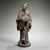 figure of a geisha by gaston veuvenot leroux