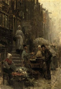 a busy street scene with market stalls by otto eckmann