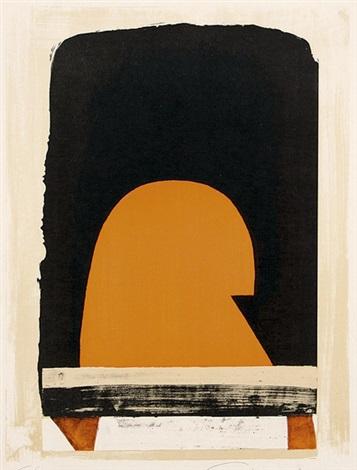 abstrakte kompositionen mit ockertönen braun schwarz und teils orange 4 works by alexander camaro