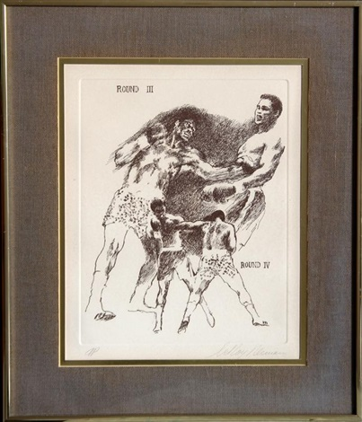 boxing etching xii by leroy neiman