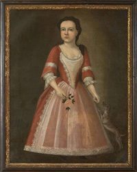 portrait of a young lady in pink dress with her dog and holding a rose by joseph badger