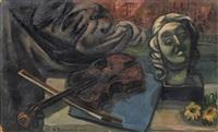 stilleben mit geige und porträtbüste by rudolf (rudi) baerwind