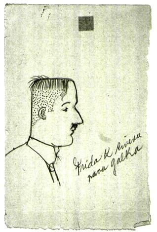 porträt von diego rivera sketch by frida kahlo