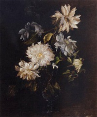 dahlias in a glass vase by jessie algie