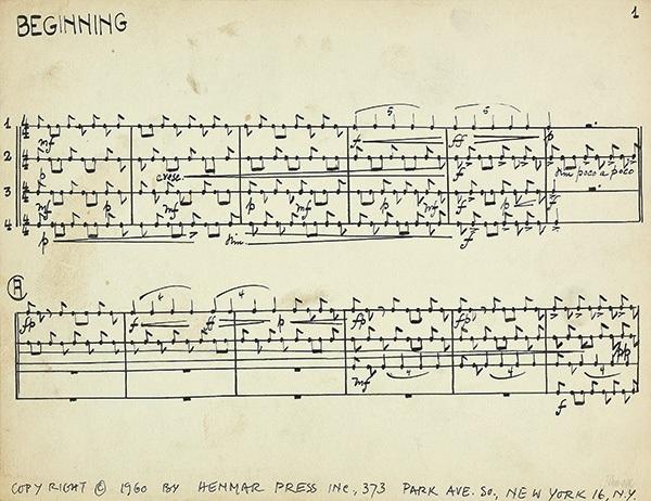 3 Notenblatter Zur Komposition Living Room Music By John Cage On
