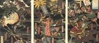 sato masakiyo in battle with various animal monsters (+ 11 others; 12 triptychs) by utagawa yoshitora