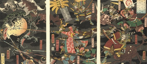 sato masakiyo in battle with various animal monsters 11 others 12 triptychs by utagawa yoshitora