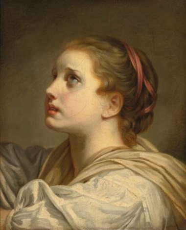 portrait of a girl head and shoulders looking up by jean baptiste greuze