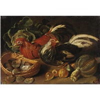 natura morta con due galline, frutta, verdura e un cesto di vongole by jacob van der kerckhoven