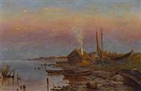 abendliche uferlandschaft mit fischerhütten by yuliy yulevich (julius) klever