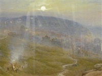 hastings by moonlight with figures around a bonfire by harry goodwin
