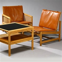 two easy chairs and a coffee table by arne karlsen and peter hjorth