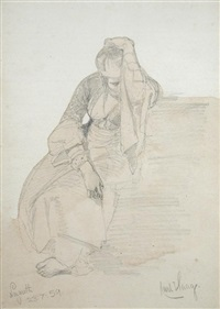seated woman, nazareth by carl haag