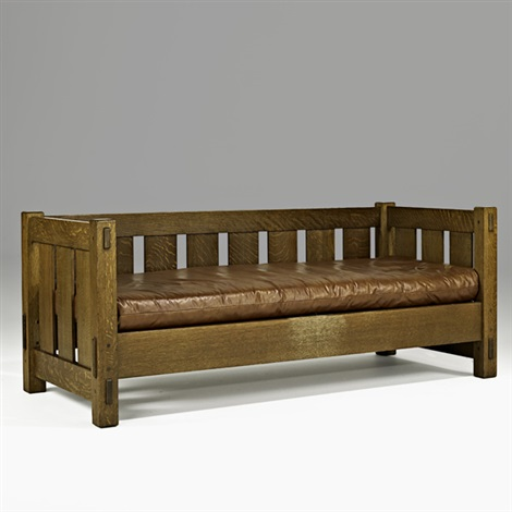 early even-arm settee (no. 208) by gustav stickley