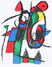 two compositions from miró lithographs, vol.i and ii (2 works) by joan miró