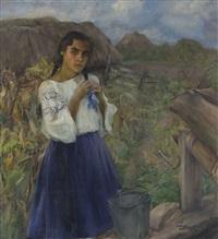 bauernmädchen am ziehbrunnen by michail nikolaievitch dobronravov