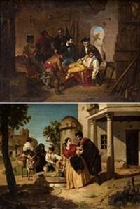 aguadores y el torero herido (pair) by juan cabral y bejarano