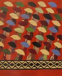 foule avec parapluies by berthe coulon