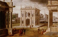 an architectural capriccio with figures among classical buildings, a quay beyond by francisco gutiérrez