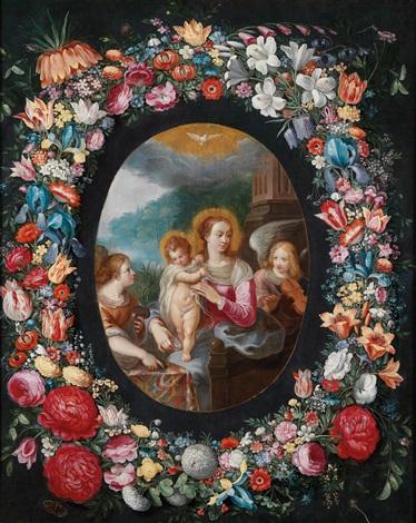 ein blumenkranz um eine kartusche mit einer madonna mit kind und engeln by jan brueghel the younger