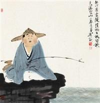 秋江闲钓图 镜心 设色纸本 (painted in 2012 fishing) by xu lele