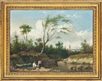 a riverscene with fishermen by john ward