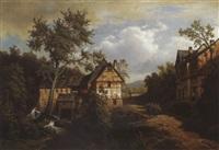 wassermühle am bach by leonhard rausch