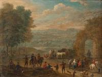 cavaliers et paysans près d'une porte en ruine et entrée d'un village (pair) by mathys schoevaerdts