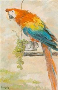 bunter papagei mit trauben auf einer kletterstange by oskar frey