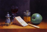 still life with glass of wine, apple, cheese knife and condiments by tim gustard