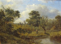 wooded landscapes with figures on paths (pair) by abraham hulk the younger