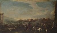 battaglia di cavallerie su sfondo di città (after borgonone) by pandolfo reschi