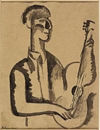 suonatore di chitarra by achille funi