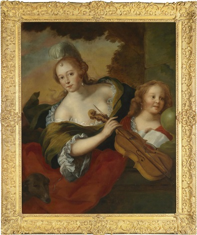 eine elegante dame mit ihrem sohn als personifikation der musik by jürgen ovens