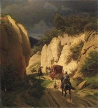 kutschfahrt im gebirge.) by wilhelm camphausen