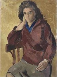 mujer con jersey rojo by joseph mompou