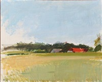 landscape with red-roofed farmhouse by søren hjorth-nielsen